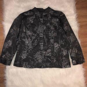 Chico's Gray Denim Style Jacket Size 3/16